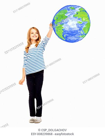 430x564 Girl Drawing Planet Earth Stock Photos And Images Age Fotostock