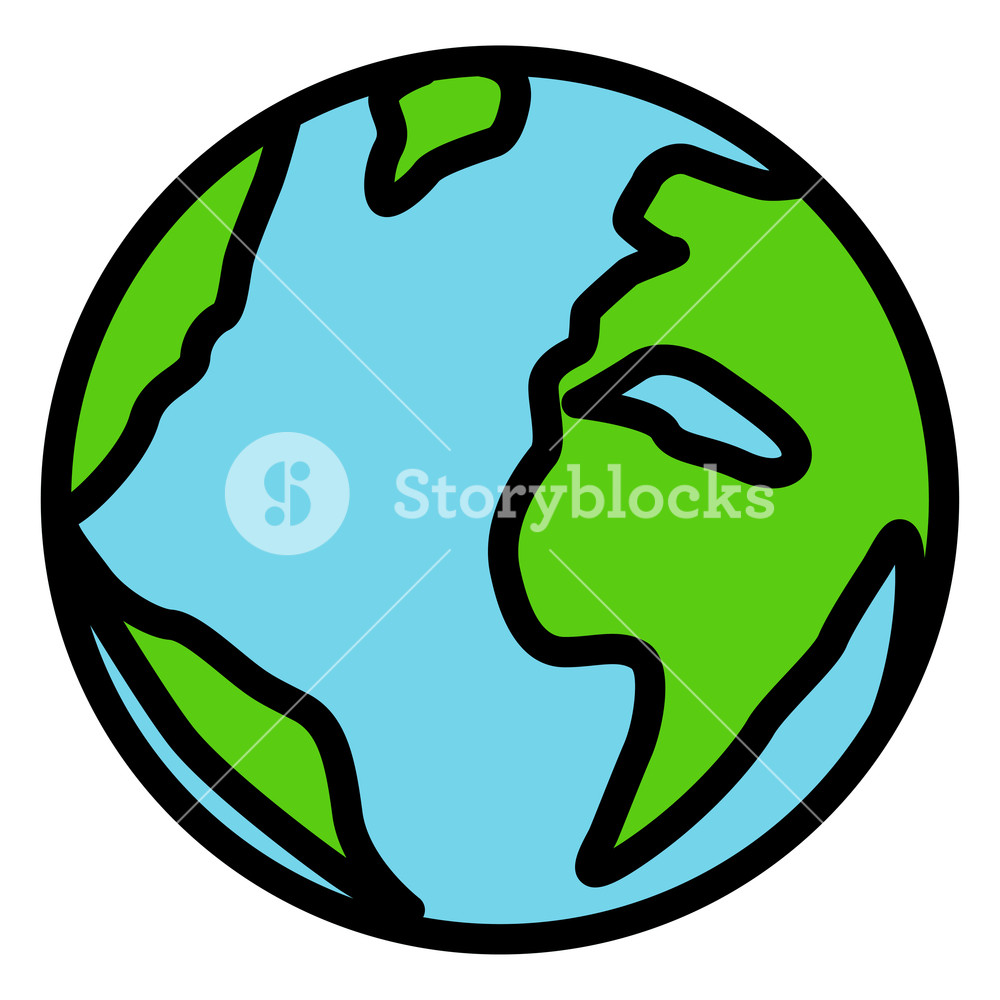 1000x1000 Illustration Of Earth Drawing Icon On White Background Royalty