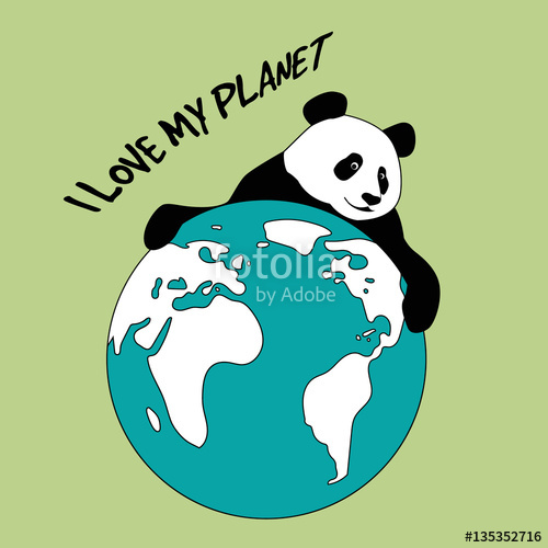 500x500 Vector Drawing Of Panda Holding The Planet Earth Stock Image