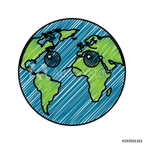 500x500 Cartoon Earth Globe Planet Sad Character Vector Illustration