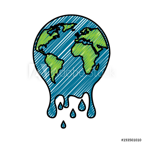 500x500 Melting Globe Planet Earth Warming Environment Concept Vector
