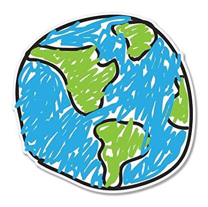 425x424 Earth Drawing Design Vinyl Sticker