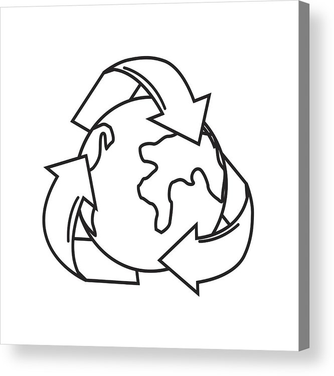 666x750 Silhouette Earth Planet Inside Of Recycling Symbol Acrylic Print