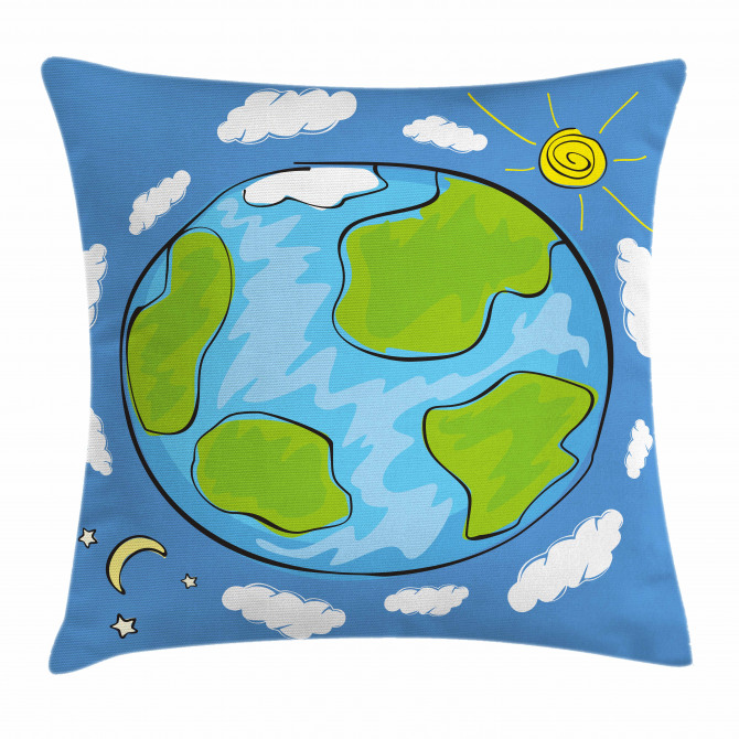 670x670 Kids Drawing Of Planet Pillow Cover