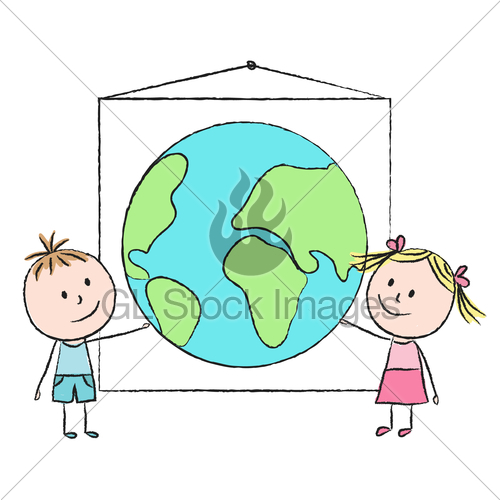 500x500 Kids With Planet Gl Stock Images