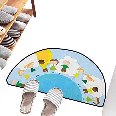 466x466 Axbkl Modern Door Mat World Smiling Kids Over Planet