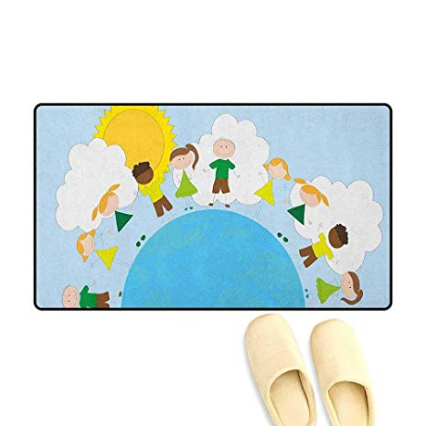 466x466 Zojihouse World Bath Mat For Tub Smiling Kids Over