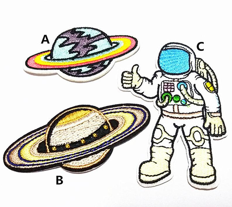 794x710 Cartoon Planet Astronaut Embroidered Applique Kids Patch Iron Etsy