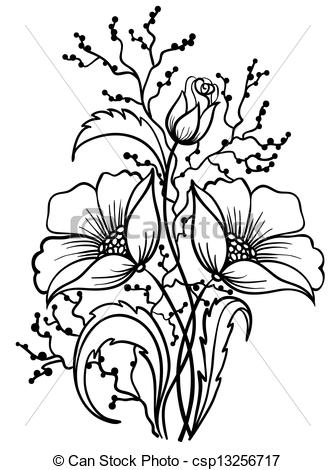 335x470 Line Drawing Of Flowers Clipart