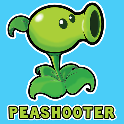 400x400 How To Draw Pea Shooter From Plants Vs Zombies Game With Easy