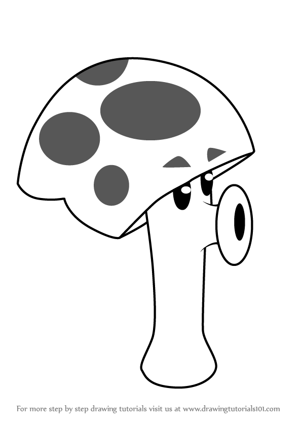 596x843 Learn How To Draw Scaredy Shroom From Plants Vs Zombies