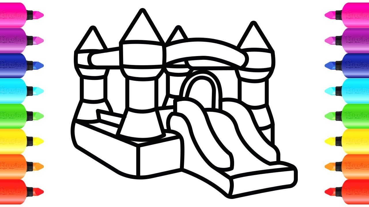 1280x720 How To Draw Bouncy Castle Playground Coloring Book For Children