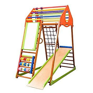 355x355 Kids Home Wooden Playground With Toboggan Plus