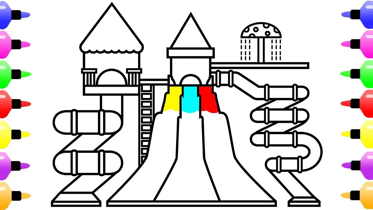 1280x720 How To Draw Water Park For Kids Coloring