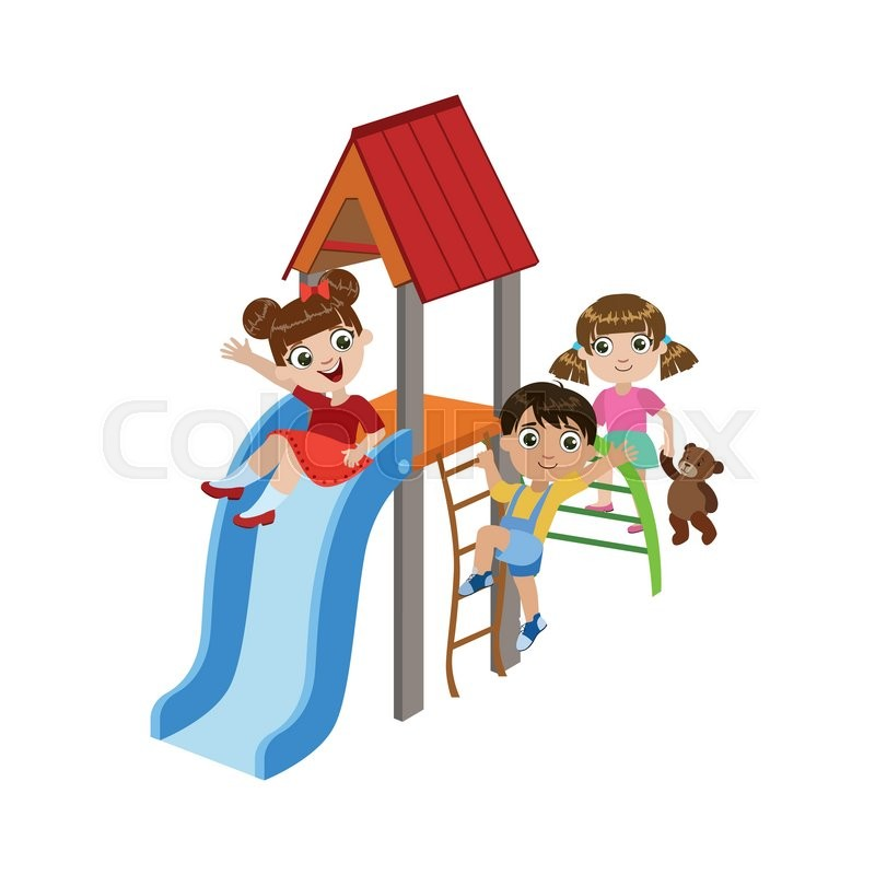 800x800 Kids Playing On The Playground Stock Vector Colourbox