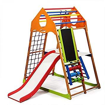 355x355 Kids Home Wooden Playground With Toboggan Plus