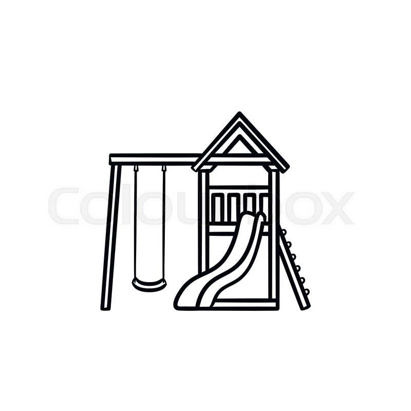 800x800 Outdoor Playground Hand Drawn Outline Stock Vector Colourbox