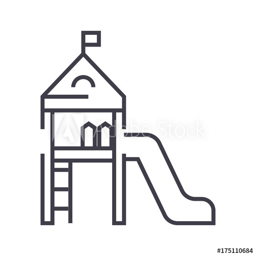500x500 Children Playground,small House With A Slide Vector Line Icon