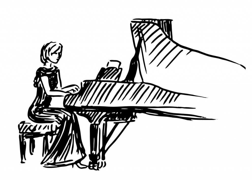 Playing Piano Drawing
