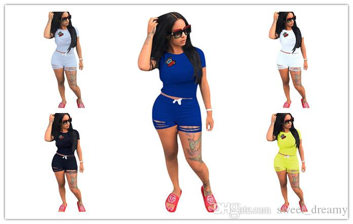 697x442 crown lip short tracksuit ripped holes outfits short sleeve