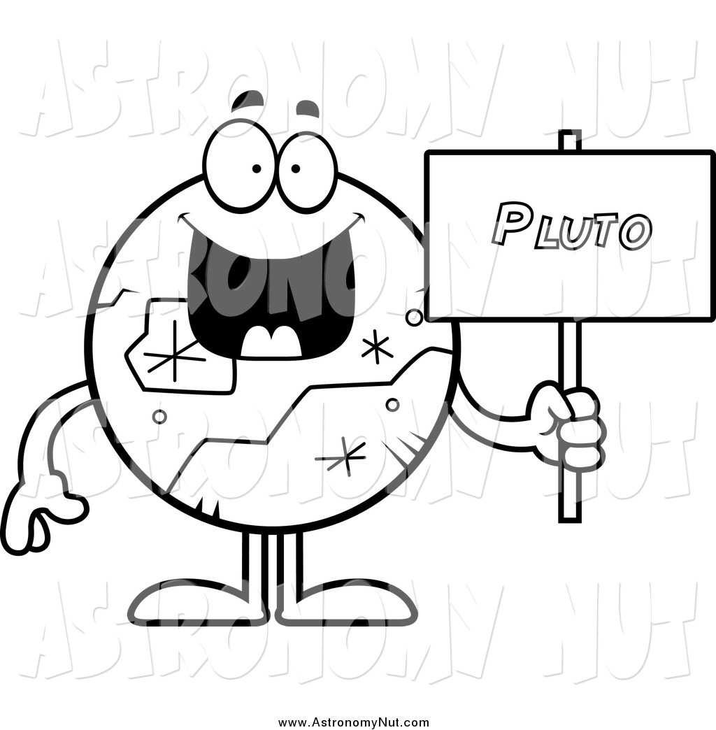 1024x1044 Clipart Of A Black And White Happy Planet Pluto Holding A Sign