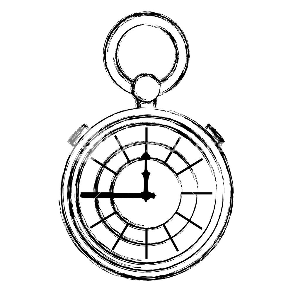 Pocket Watch Line Drawing