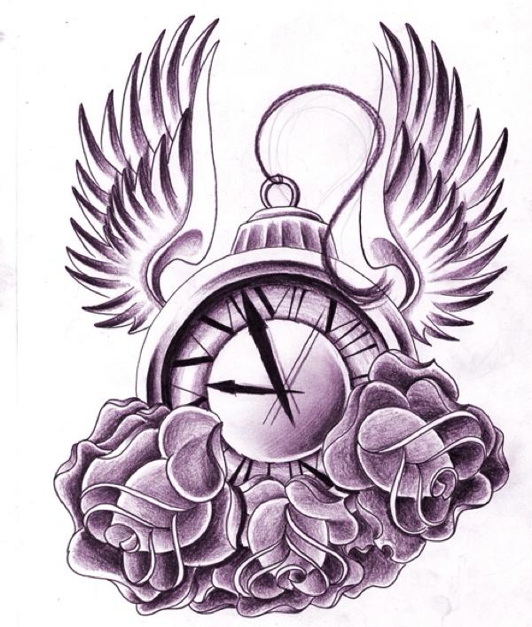 Pocket Watch Tattoo Drawing