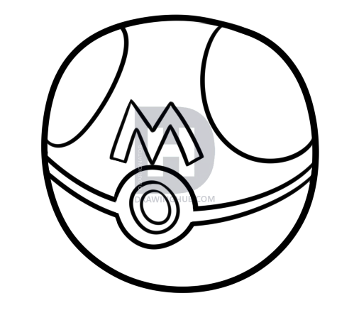 499x451 How To Draw A Master Ball From Pokemon, Step