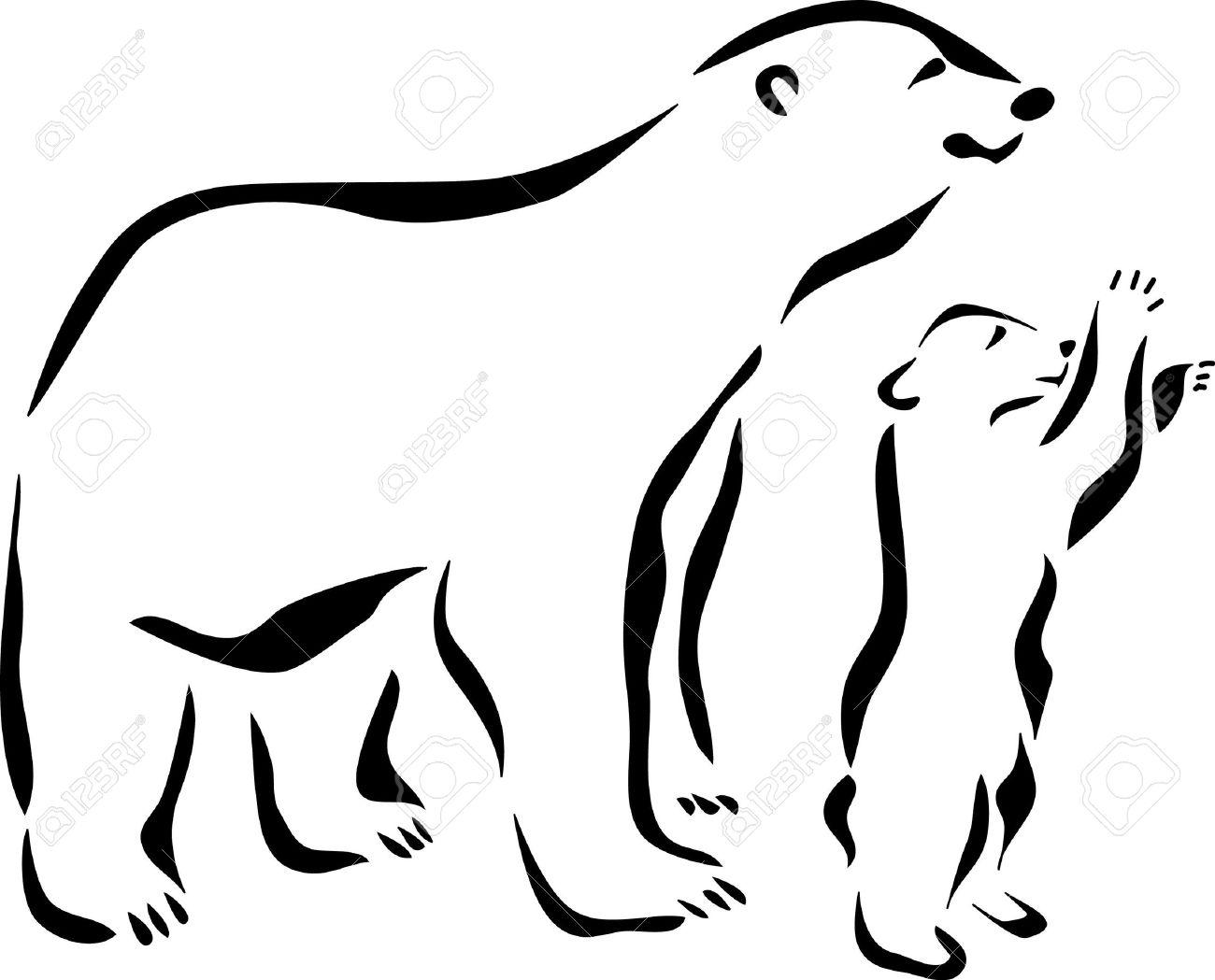 1300x1049 baby bear outline amazing outline polar bear with baby polar bear