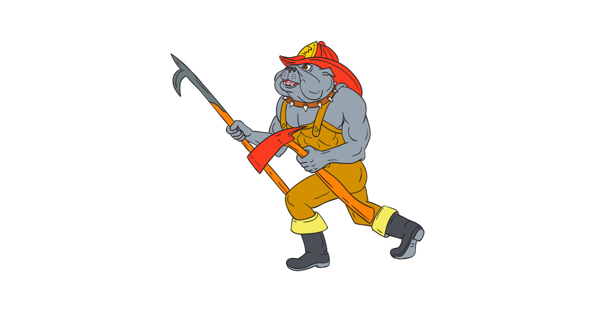 1200x630 Bulldog Firefighter Pike Pole Fire Axe Drawing