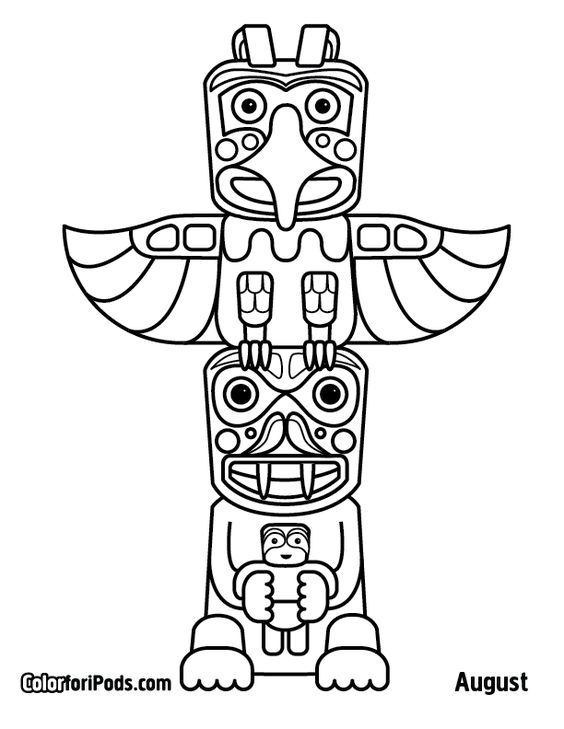 564x729 Image Result For Tiki Head Drawings Framework Totem Pole Art