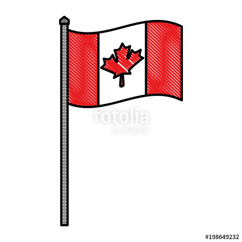500x500 Canadian National Flag In The Pole Waving Symbol Vector