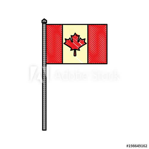 500x500 Canadian Symbol National Flag With Maple Leaf In The Pole Vector