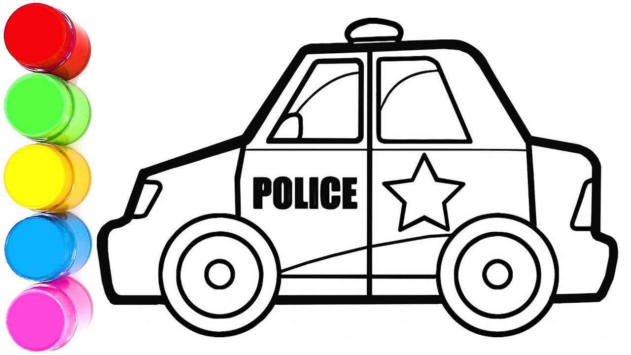 1280x720 Coloring And Drawing Police Car Taxi Toy Car For Kids