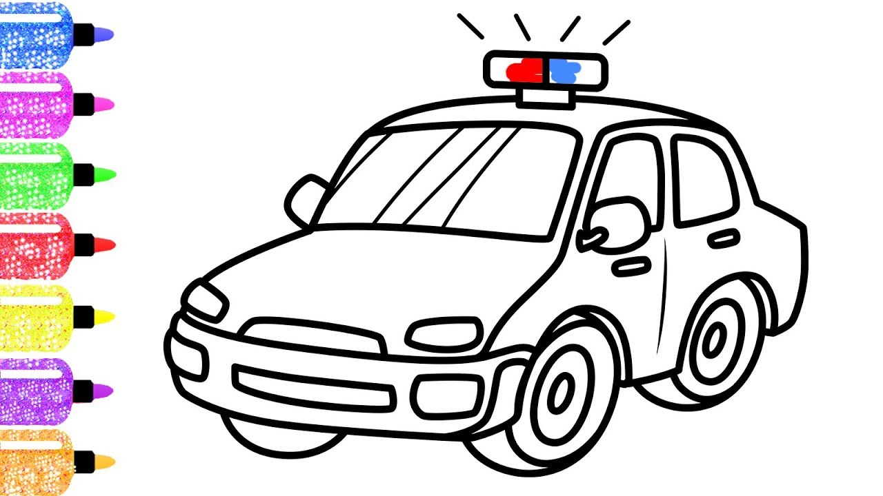 1280x720 How To Draw A Police Car For Kids Learn Colors