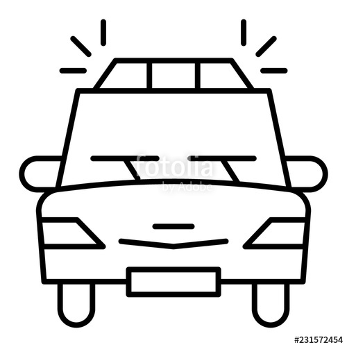 500x500 Police Car Thin Line Icon Sheriff Car Vector Illustration