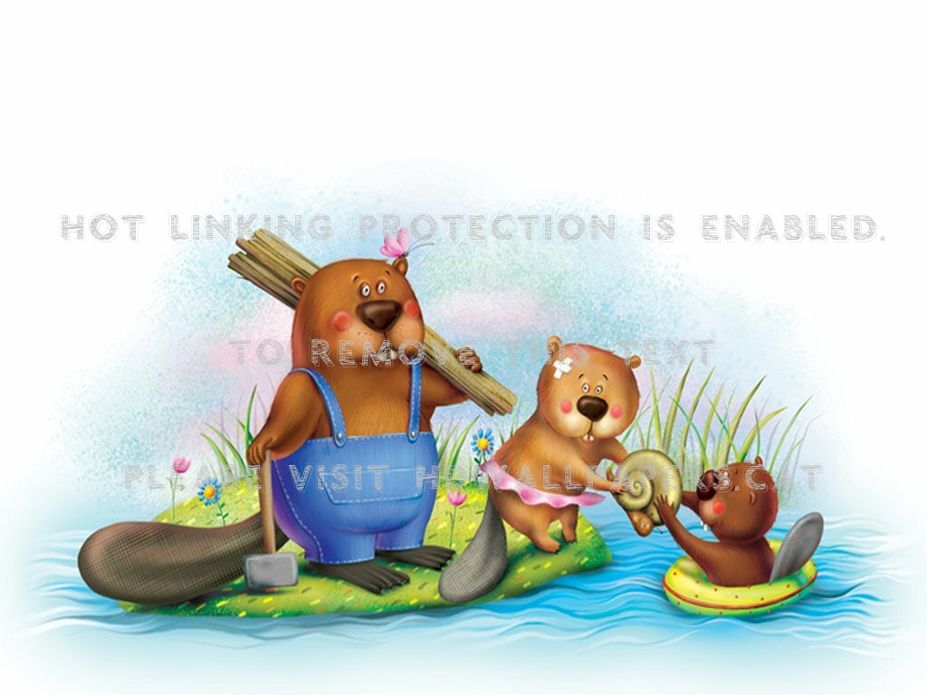 1024x768 beavers trunk drawing rodent pond cute