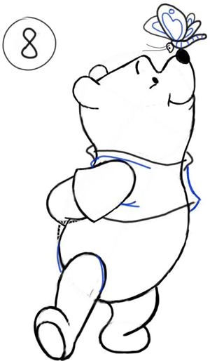 300x514 How To Draw Winnie The Poo And Butterfly With Step