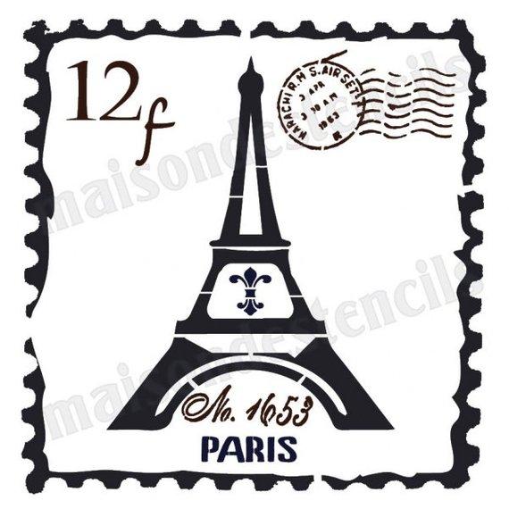 570x570 Euro Stencil Design French Postage Stamp Eiffel Tower X