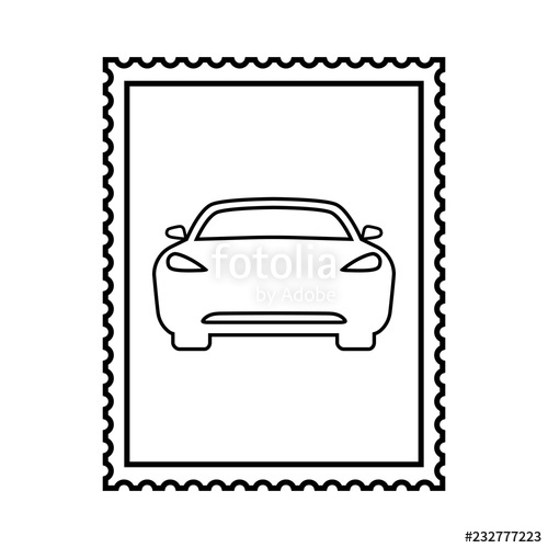 500x500 Postal Stamp Line Icon With Car Picture Auto Theme Stamp
