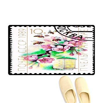 355x355 Floor Mat Pattern Cancele Soviet Postage Stamp Cherry