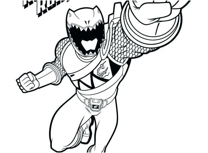 827x609 Red Power Ranger Coloring