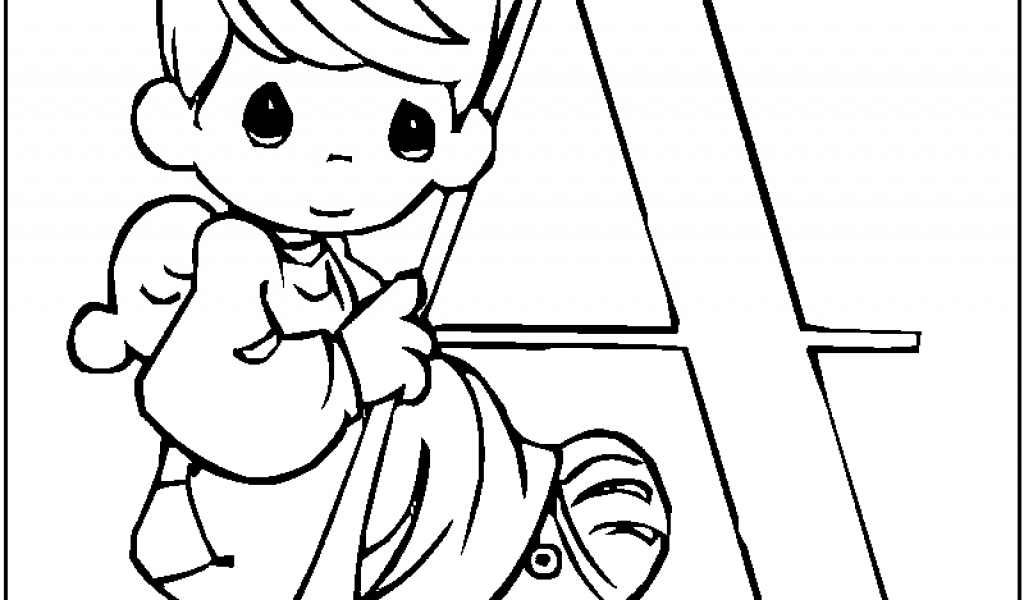1024x600 Awesome A For Angel Precious Moments Alphabet Coloring Pages