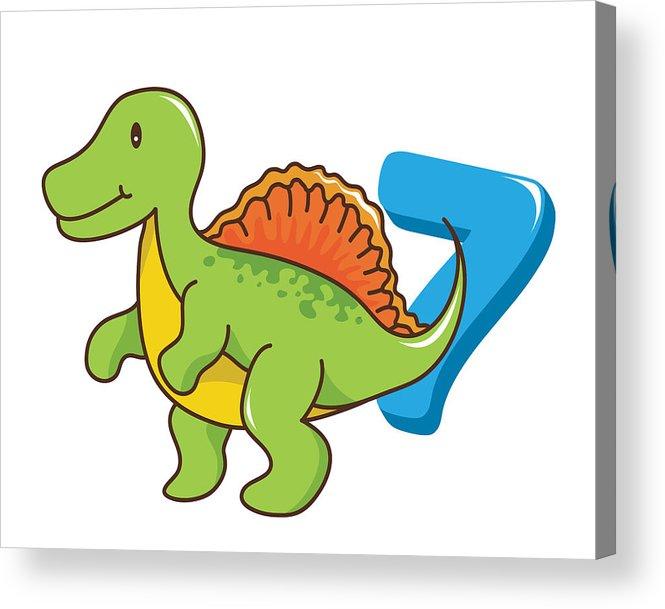 665x609 Colorful Cute Prehistoric Baby Spinosaurus Dinosaur Illustration