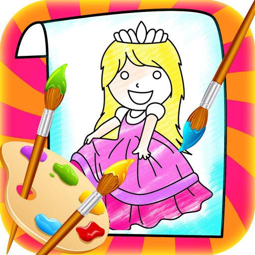 512x512 Princess Coloring Book Drawing Doodle