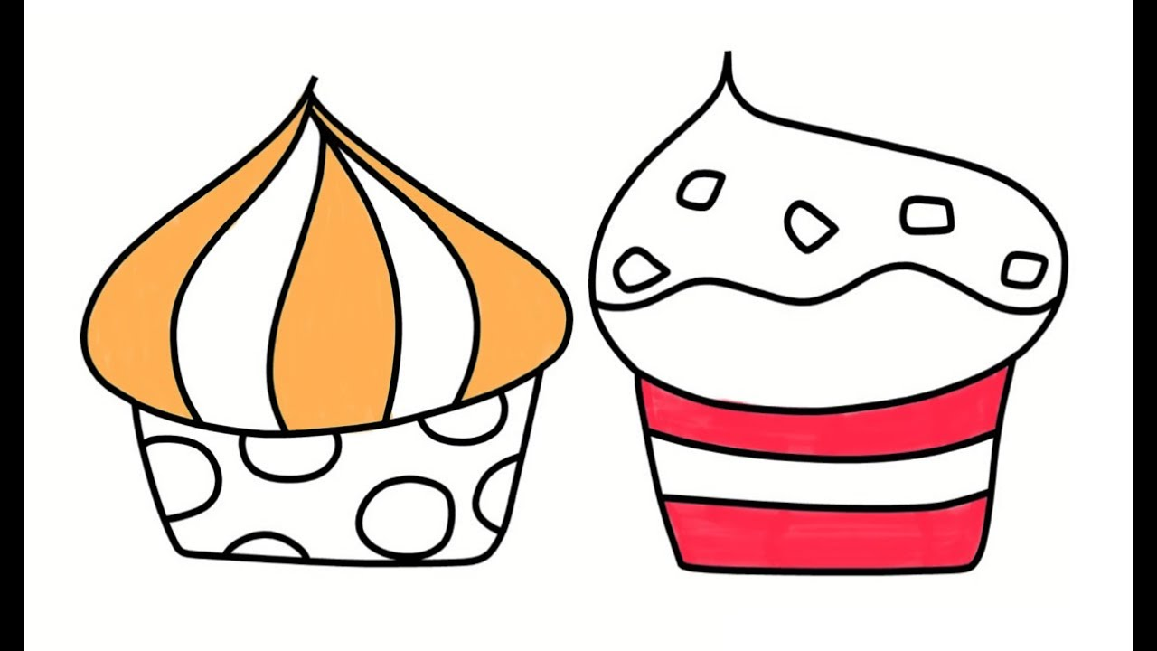 1280x720 Cupcakes Draw Coloring Book For Childrens, Drawing Art