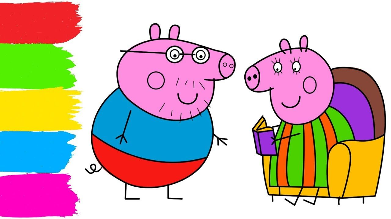 1280x720 Mummy Pig Reading Book Draw And Coloring For Kids How To Draw