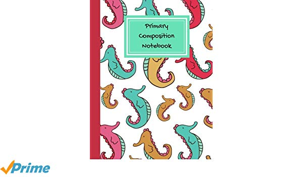 600x350 primary composition book seahorse marine life notebook, primary