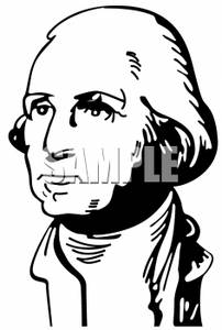 202x300 Clipart Picture Of A Black And White Drawing Of George Washington