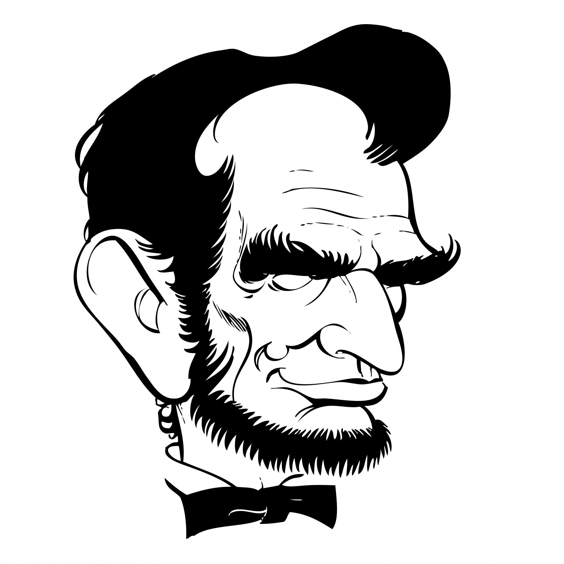 1920x1919 Abraham Lincoln, Caricature, Cartoon, Line Art, Drawing